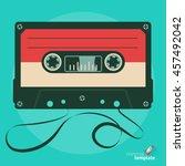 retro audio tape cassette. flat ... | Shutterstock .eps vector #457492042