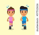cartoon man and woman running... | Shutterstock .eps vector #457512616