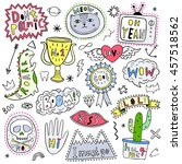 hand drawn fun patch  pin ... | Shutterstock .eps vector #457518562