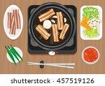 samgyeopsal with ssamjang sauce ... | Shutterstock .eps vector #457519126