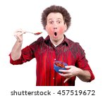 man holding a spicy red paprika ... | Shutterstock . vector #457519672