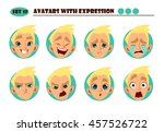 avatars with expression. blond... | Shutterstock .eps vector #457526722