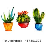 cute small cactuses in pots.... | Shutterstock . vector #457561378