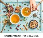 two cups of healthy herbal tea... | Shutterstock . vector #457562656