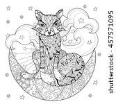 Cute Fox On Christmas Half Moon ...