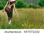 stylish hipster woman walking... | Shutterstock . vector #457572232