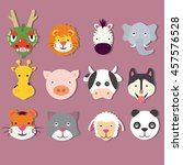 animal icon set faces mask...   Shutterstock .eps vector #457576528