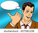 man shows good hand gesture pop ...   Shutterstock . vector #457581238