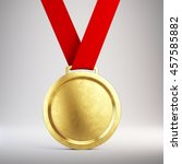 first place gold medal with red ...   Shutterstock . vector #457585882