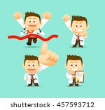 vector set of cartoon doctor... | Shutterstock .eps vector #457593712