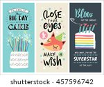 set of birthday greeting cards... | Shutterstock .eps vector #457596742