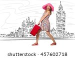 young woman travelling to... | Shutterstock . vector #457602718