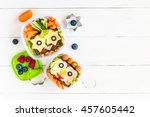 school lunch box for kids on... | Shutterstock . vector #457605442