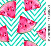 watermelon slice seamless... | Shutterstock .eps vector #457608706