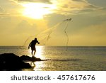 throwing fishing net during... | Shutterstock . vector #457617676