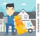 an asian delivery man with... | Shutterstock .eps vector #457625026