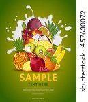 fruit mix composition in milk... | Shutterstock .eps vector #457630072
