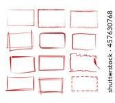 set of 12 grunge red frames ... | Shutterstock .eps vector #457630768