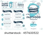 fast food menu design and fast... | Shutterstock .eps vector #457633522