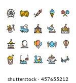 amusement park outline colorful ... | Shutterstock .eps vector #457655212