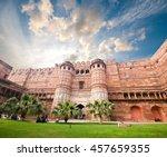 the agra fort in agra in uttar... | Shutterstock . vector #457659355