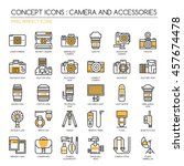 camera and accessories   thin... | Shutterstock .eps vector #457674478