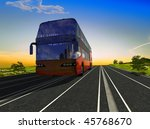 the tourist bus on a background