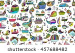 whales collection  sketch for... | Shutterstock .eps vector #457688482