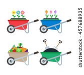 set of wheelbarrows with... | Shutterstock .eps vector #457688935