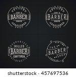 four vector emblems for barber... | Shutterstock .eps vector #457697536