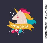 vector baby unicorn with... | Shutterstock .eps vector #457698502