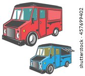 set of colour street food truck ... | Shutterstock .eps vector #457699402