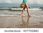walking on the beach. close up...   Shutterstock . vector #457702882