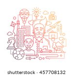 illustration of modern line... | Shutterstock . vector #457708132