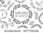 wreaths and branches. ink... | Shutterstock .eps vector #457710106