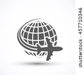 travel the world plane icon...