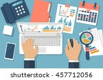working with financial papers.... | Shutterstock .eps vector #457712056