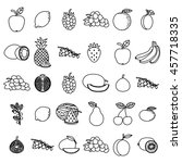 hand drawn fruits set on white...   Shutterstock .eps vector #457718335