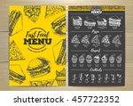 vintage fast food menu design.... | Shutterstock .eps vector #457722352