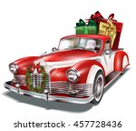 pickup truck with gift box in... | Shutterstock .eps vector #457728436
