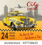Taxi Card With  Retro Yellow...