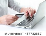 hands holding credit card and... | Shutterstock . vector #457732852