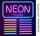 neon brushes set. set of... | Shutterstock .eps vector #457735576