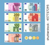 Euro Banknotes. Money Coins....