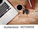 office desk table top view no... | Shutterstock . vector #457739935