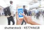 hands holding smartphone with... | Shutterstock . vector #457744618