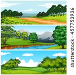 three nature scenes with fields ... | Shutterstock .eps vector #457753936