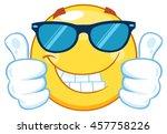 smiling yellow emoticon cartoon ... | Shutterstock .eps vector #457758226