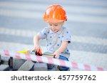 portrait of cute little builder ... | Shutterstock . vector #457759762
