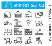 warehouse line icon vector set | Shutterstock .eps vector #457760245